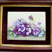 Vintage Painting Of Pansies on Porcelain     signed