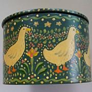 SALE PENDING Lovely Folk Art  Hand-Painted Box  Ducks & Eggs