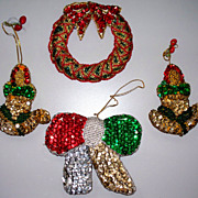 Vintage Sequin Christmas Ornaments    4 in all