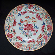 Antique Chinese Yongzheng Qing Dynasty Rose Famille ':Peonies' Plate ca. 1740