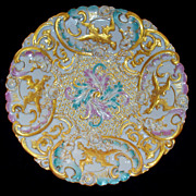 Rare Antique Meissen Molded Plate/Bowl  Phoenix & Roses     circa 1860