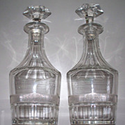 """Pair of  Baccarat  Type  Crystal Decanter Bottles      Perfect   10.5"""""""