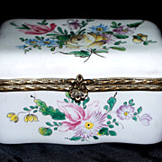 Antique French Faience V.P.  Beautiful Flowers  Box  perfect