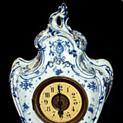 SOLD Antique French Rococo  Porcelain Mantle Clock   16""