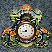 Antique French Faience Desvres Rococo Clock
