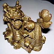 Vintage Fierce Chinese Bronze Dragon Sculpture Figurine