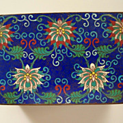 "Antique Large Chinese Cloisonne ""Lotus"" Flower Box     Perfect"