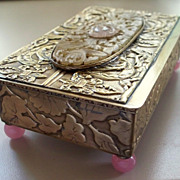 Antique Chinese Brass Jade Rose Quartz Box  Phoenixes Motifs & Fleur de Lis