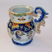 """Antique French Faience """"Rouen"""" Geo Martel Small Pitcher ca, 1890"""