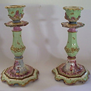 Antique Pair French Faience Rococo Veuve Perrin Candlesticks  Boy & Girl 18th century