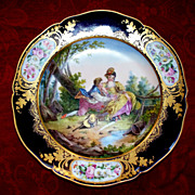 Antique Large Sevres-Style KPM Cobalt- Blue H.P. Lovers  Perfect