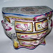 """Antique French Faience Strasbourg """"Paul Hannong"""" Armorial Commode Box ca.1740"""
