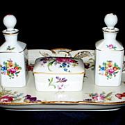 Vintage Limoges & Rosenthal Porcelain Vanity Set  Roses & Tulips