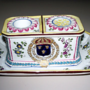 Antique French Faience/Porcelain Paul Hannong  Gold Armorial Inkwell    circa 1760
