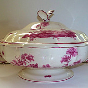 Antique Gien Large Tureen with Country Scenes & Butterflies.. circa 1875