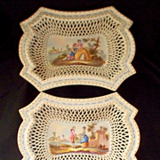 Pair of Antique French Faience Lille  Trays on Rococo feet signed