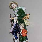 Antique Capodimonte Man &  Child   with Violin 19th century  7.6""