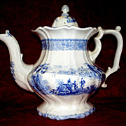 Antique Staffordshire Huge Pearlware Teapot  circa  1850