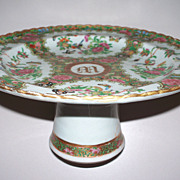 """Antique Chinese Rose Famille Canton Tazza  """"M"""" 18th/19 century   Perfect"""