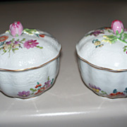 Pair of Dresden Meissen- Style Covered Bowls  Rose-finials ca.1900