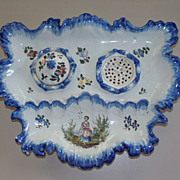 "Antique French faience ""Arras"" Inkwell.... prior to ca.1790"