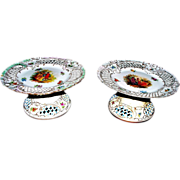 Antique Pair of Dresden Rococo Reticulated Tazzas/Compotes  ca. 1890s