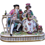 Antique Achille Bloch Bourdois Porcelaine de Paris Courting Couple  ca.1890's