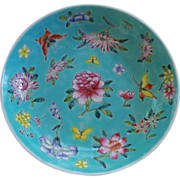 SOLD Antique Chinese Bowl/ Dish Overlay Enamels Peonies & Butterflies Guangxu marked Perfect