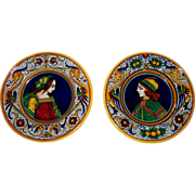 Pair of Deruta Renaissance Design Faience Plates...  Perfect..