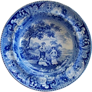 "Antique Staffordshire Pearlware Blue n White ""Wheat Gatherers"" & Dog Plate/Bowl ca."