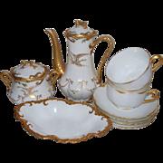 Antique Limoges 24 K. Gold Haviland & Coronet Partial Tea Set  with Eagle motifs