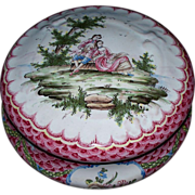 "Antique Large French Faience ""Sceaux"" Jewelry Box 'Lovers' H.P. 19th century"