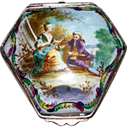 "Antique French Faience 'Lille' ""Lovers"" Box   Late 18th Century Perfect"