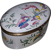 "Lovely Antique Large French Faience Veuve Perrin 'Chinoiserie' Box ""Fishing""  perfec"