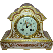 Antique French Porcelain Clock Samuel Marti & Cie  circa 1875  Cupids & Roses..