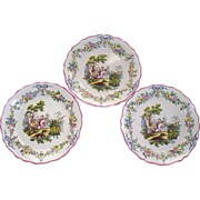 "Antique French Faience 'Sceaux' 3 Plates 10"" each  Putti / Boys  Fishing"