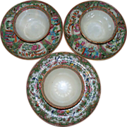 Three # sets of Antique Chinese Famille Rose Cups & Saucers Late 18th century-early 19th .