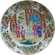 """Spectacular Chinese Famille Rose """"Mandarin"""" Large Plate with Butterflies, Insects, B"""
