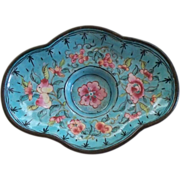 Antique Chinese Enamel  Small Tray /Dish over Copper with Roses.. Republic Period     early 19