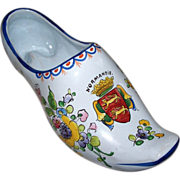 "Large Antique French Faience  "" Arras ""  Shoe Vase  ""Armorial "" Normandie"