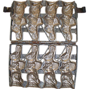"Antique Chocolate Mold of ""Easter Bunnies"""