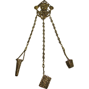 SOLD Antique Sewing Chatelaine With Highly Decorated Clip