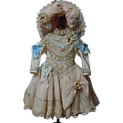 SOLD Exquisite Basque Waistline Couturier Costume Dress hat for antique french Bebe doll