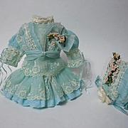 "SOLD Gorgeous tiny Couturier Bebe Dress Hat aquamarine Spring ensemble for 12-13"" antique"