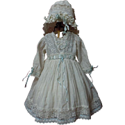 SOLD Antique 19th Century Lawn Dress Bonnet for french bebe Jumeau doll