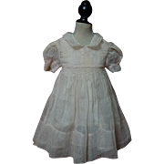 Old Rose Organdy Smocked Dress Slip for german french bisque doll