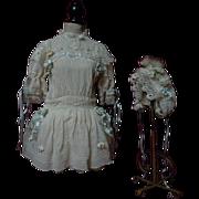 SOLD Antique crepe Dress Petticoat Bonnet orange blossom for german french bisque doll