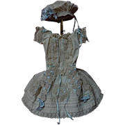 Antique 19th century Dress for antique french Bebe size 7 or Fashion size doll