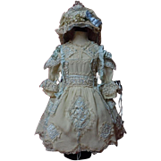 SOLD Gorgeous crepe Dress Reticella Lace Petticoat Hat for huge german french bisque doll