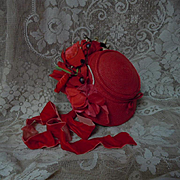 SOLD Wonderful Red soft straw doll Hat velvet silk roses for antique german french bisque doll